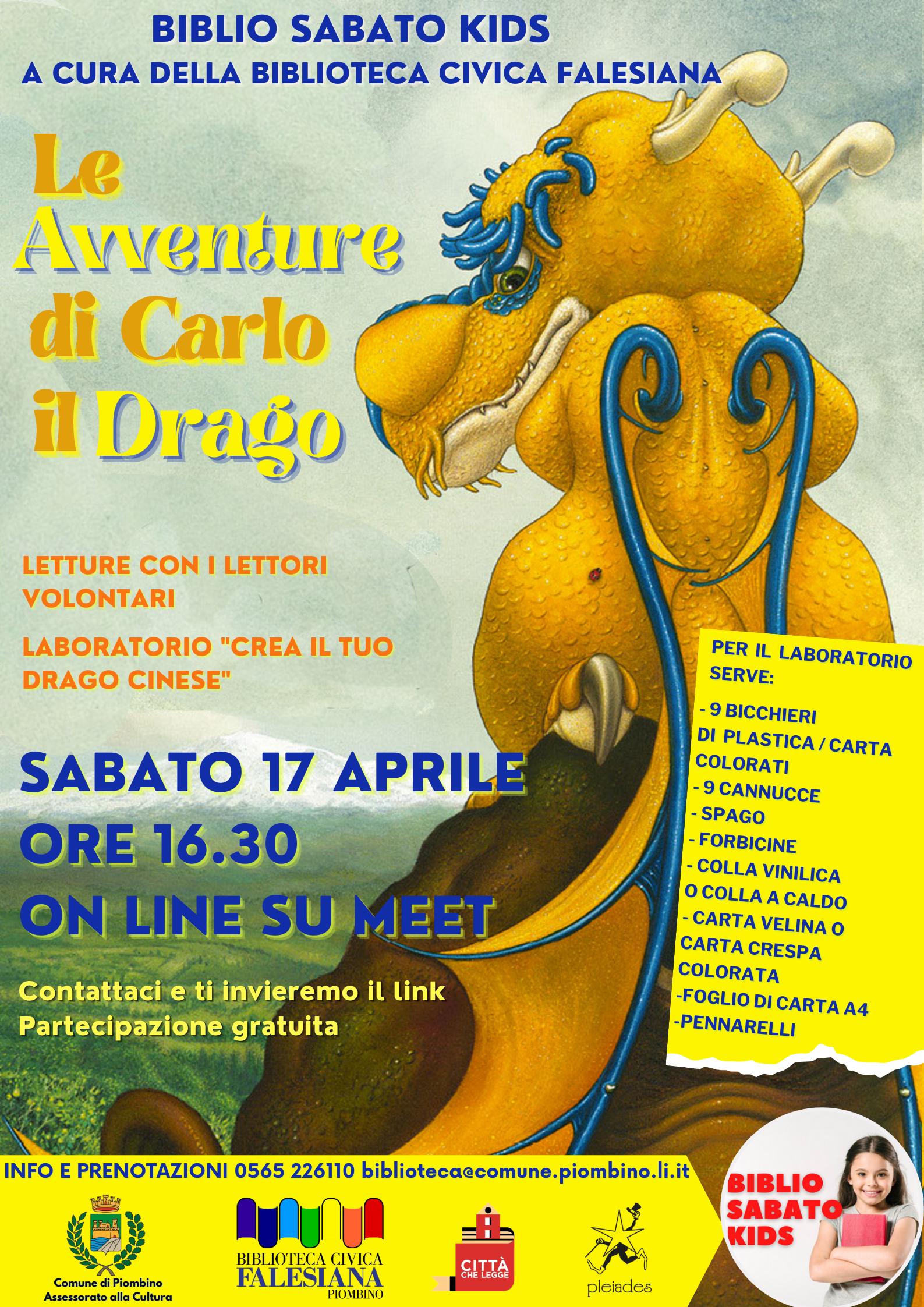 Sabato Biblio Kids, un nuovo appuntamento dedicato alle avventure di Carlo il drago