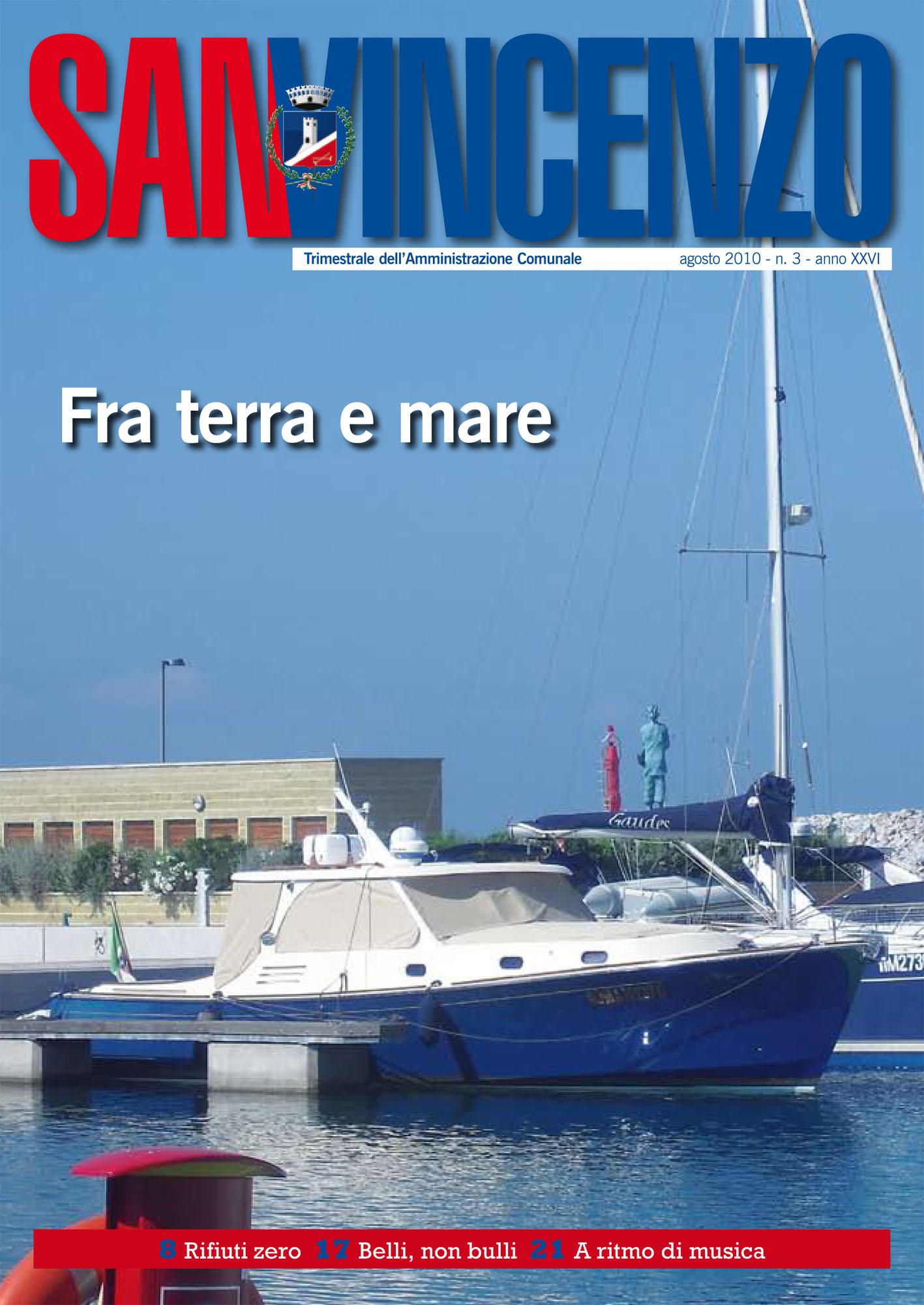 Ultima copertina del periodico comunale San Vincenzo con l'immagine del Palazzo comunale