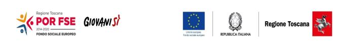 SEquenza di loghi del Fondo sociale europeo, giovanni sì, bandiera europea, e loghi della Republica italiana e della Regione Toscana