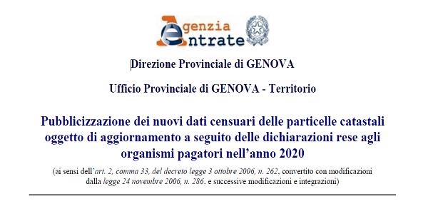 Pubblicizzazione dei nuovi dati censuari delle particelle catastali oggetto di aggiornamento a seguito delle dichiarazioni rese agli organismi pagatori nell'anno 2020