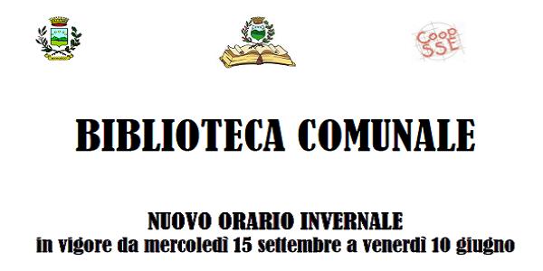 BIBLIOTACA COMUNALE - ORARIO INVERNALE 2021/2022 - in vigore dal 15 settembre 2021 al 10 giugno 2022