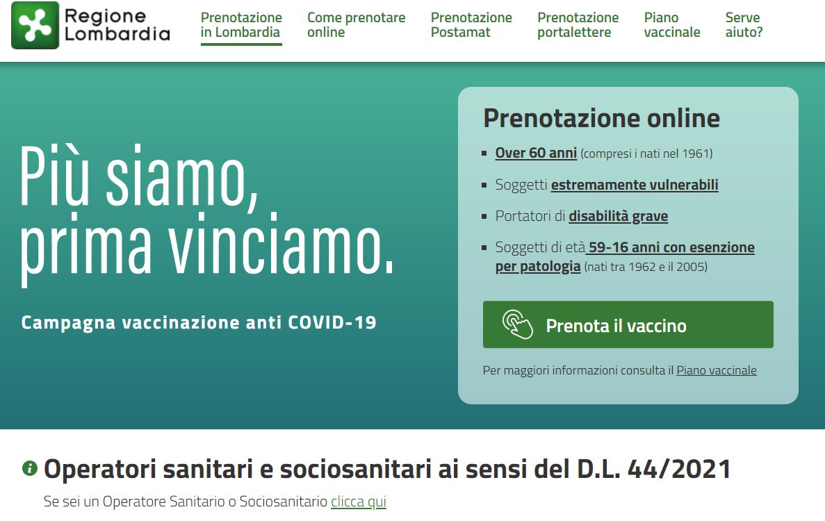 APERTE le prenotazioni per la vaccinazione degli Operatori sanitari e sociosanitari