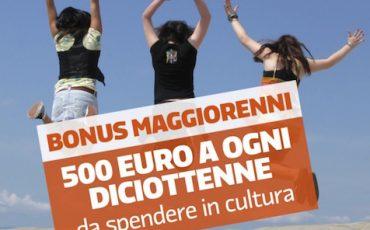 Bonus nazionale di 500 euro da spendere in cultura destinato ai diciottenni residenti in Italia